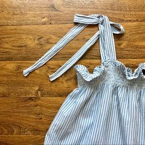 Ann Taylor Tops - White Tank Top Blue Stripes Tie Straps Ann Taylor